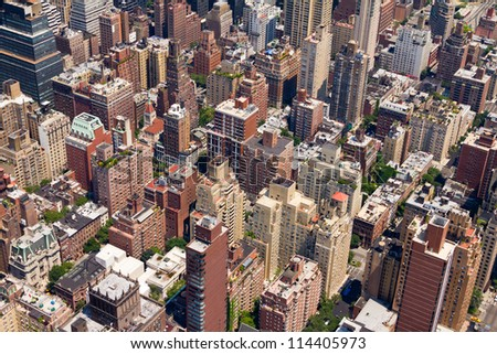 Background of Buildings in Downtown New York City - stock photo