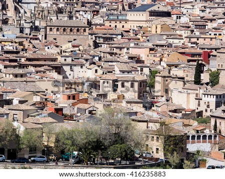 background of buildings in Toledo's old town, Spain - stock photo