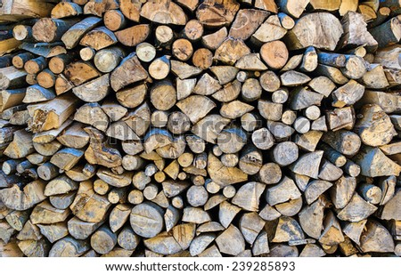 Background of bunch of felled tree - stock photo