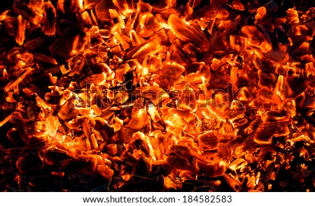 background of burning coals - stock photo