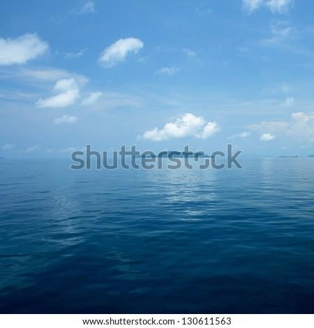 Background of calm dark blue sea - stock photo