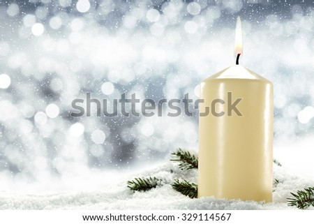 background of candle and xmas tree place  - stock photo