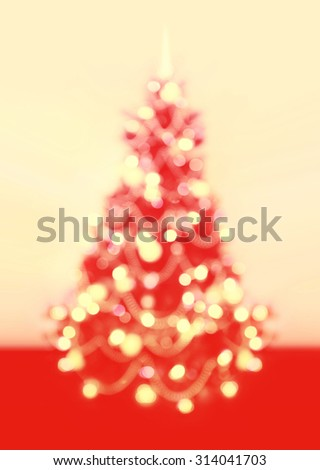 Background of Christmas, New Year tree with defocused lights. - stock photo
