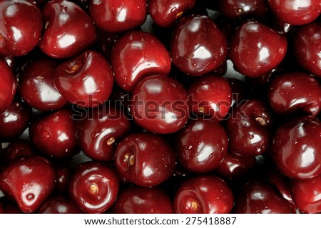 background of closeup fresh cherries - stock photo