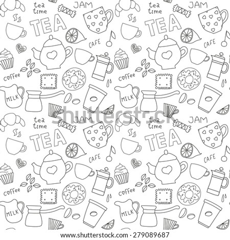 Background of coffee and tea doodle items - stock photo