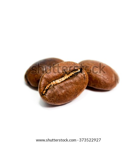 Background of coffee beans on white  - stock photo