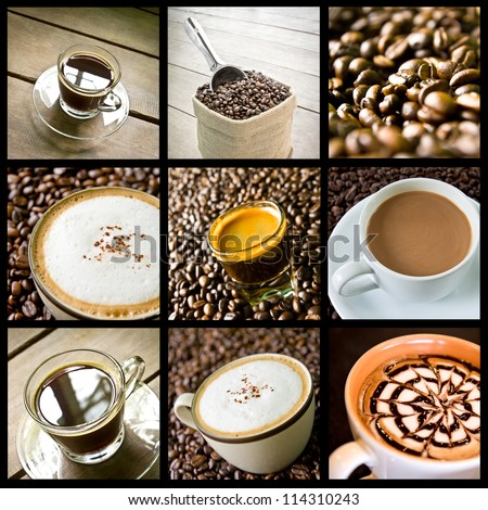 background of coffee collage - stock photo