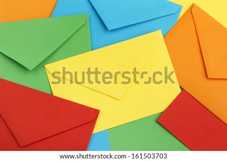 background of colorful correspondence envelopes - stock photo