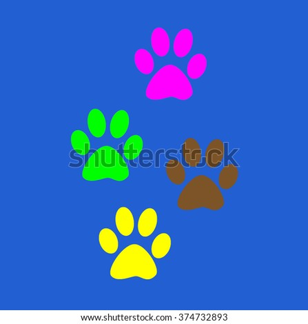 Background of colorful fun Prints paw prints animal. Color paw dog, the imprint of paws of a pet. Print on a blue background.  - stock photo