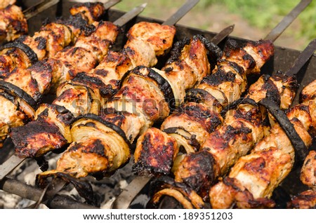 Background of crispy grilled meat and onion kebabs on a BBQ ready to be served as a delicious healthy outdoor meal on a camping trip or picnic - stock photo