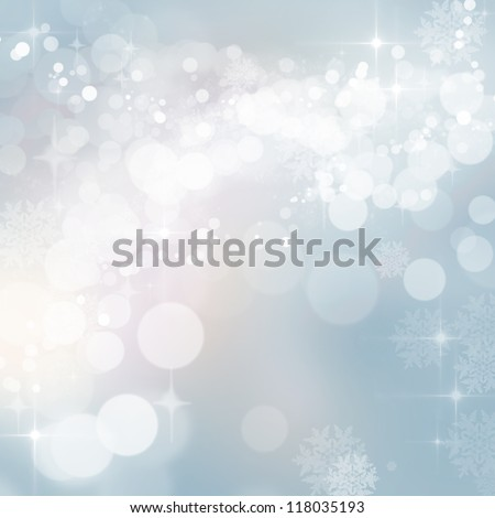 Background of defocused blue twinkling lights with sparkles. Christmas, New Years, winter, party. - stock photo