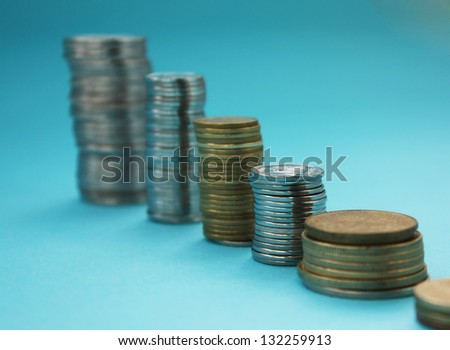 Background of different coins - stock photo