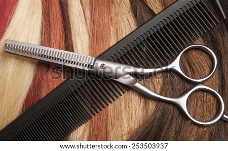 background of different strands of hair - stock photo