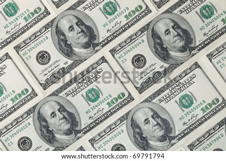 Background of 100 dollar bills - stock photo