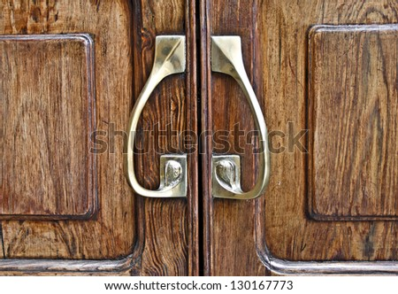 Background of door handles - stock photo