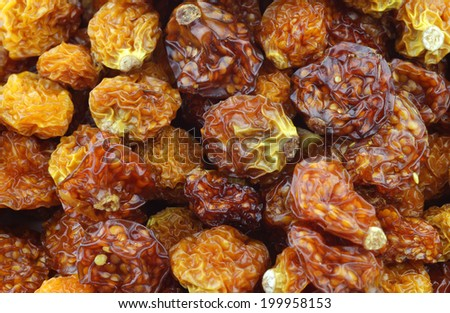 Background of dried Cape gooseberries ((Physalis peruviana) - stock photo