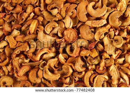 Background  of dried slices apples, group of dry slices of apple. \ Organic dried apples - stock photo