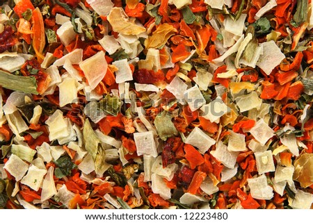Background of dried vegetables and spices. Abstract food textures. - stock photo