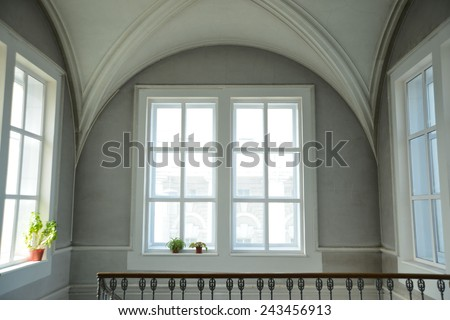 Background of empty big white classical room render with round vault ceiling above rectangular day light windows concrete frame in clear texture gray wall low key backdrop - stock photo