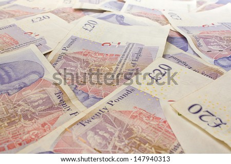 Background of English twenty pound notes - stock photo
