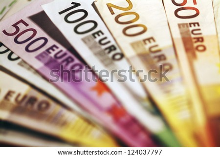 Background of euro bills. Shallow focus. - stock photo