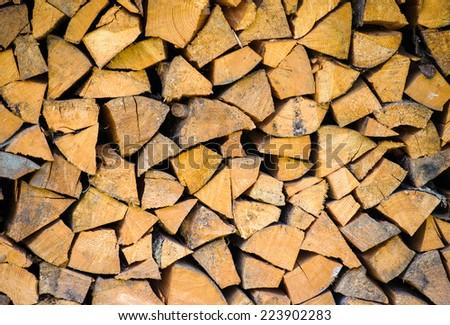 Background of firewood - stock photo