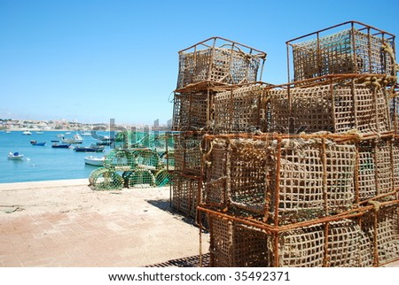 background of fishing cages in the port of Cascais, Portugal - stock photo