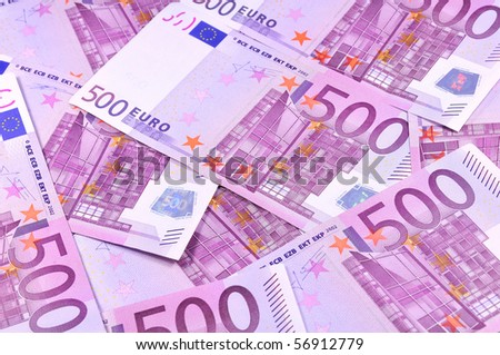 Background of five hundred euro banknotes - stock photo