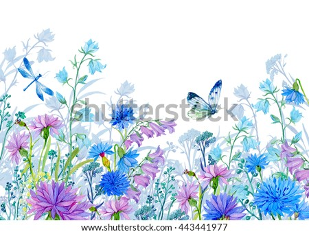 background of flowers.watercolor illustration.Wildflowers and butterflies. design for fabric ,cards ,Wallpapers - stock photo