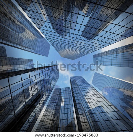 background of glass highrise building skyscraper, modern futuristic commercial city Business concept of successful industrial architecture - stock photo