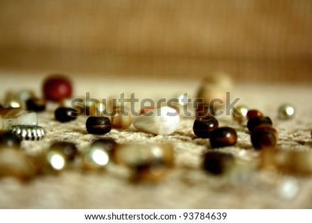 background of gold and silver beads - stock photo