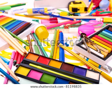 Background of group art school supplies. - stock photo