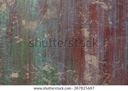 Background of grunge red, green and blue painted cement wall  - stock photo