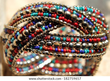 background of indian style handmade jewelry - stock photo