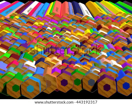 Background of large group of colored pencils. Colored pencils butt end. 3d render. - stock photo