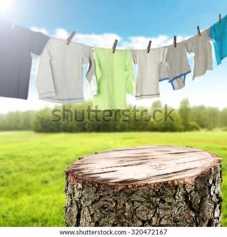 background of laundry on rope and clothes decoration  - stock photo