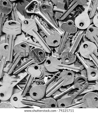 background of many gray keys - stock photo