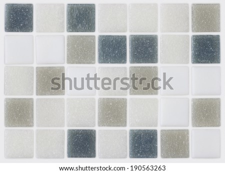 background of mosaic grey and blue tiles - stock photo