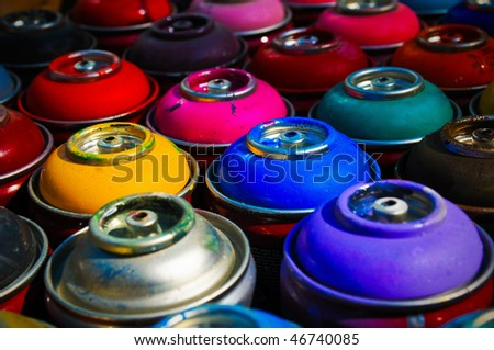 background of multi-colored containers for paint - stock photo