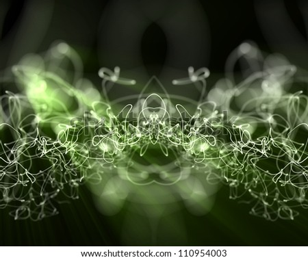 Background of multiples green lightning lines - stock photo