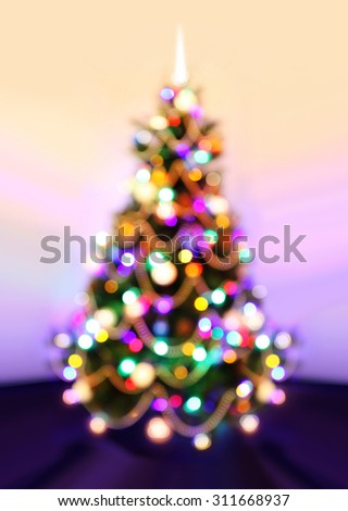 Background of New Year, Christmas tree with defocused lights. - stock photo