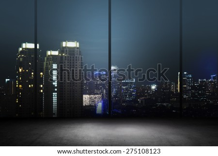 Background of office interior with night cityscape - stock photo
