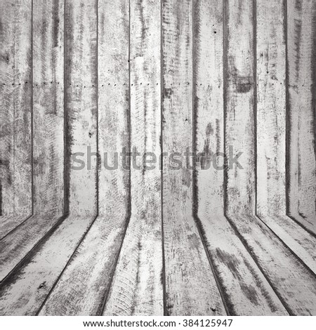 Background of old natural wooden dark empty room with messy and grungy crack beech, retro perfect blank warm rural interior with wood, shadows, dingy, dim light - stock photo
