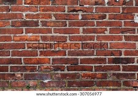 Background of old vintage brick wall Red brick wall texture background - stock photo