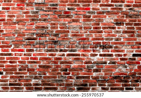 Background of old vintage brick wall texture - stock photo