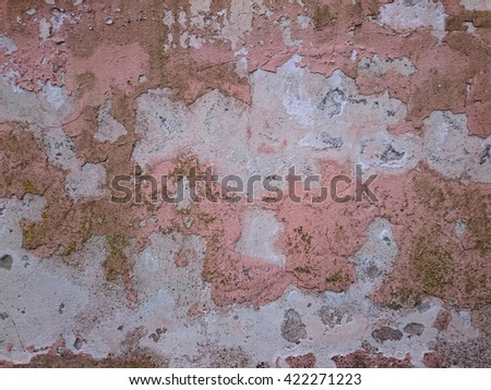 background of old weathered decaying wall with interesting natural pattern - stock photo