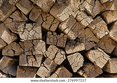 background of old wood railroad ties piled up - stock photo