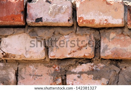 Background of orange Brick wall - stock photo