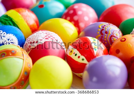 Background of painted Easter eggs - stock photo