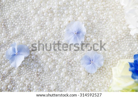 background of pearls and hydrangea - stock photo